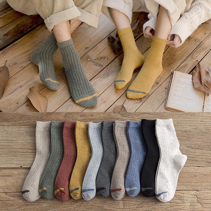 2020 New Loose Socks Women 200 Needles Cotton Knitting Rib Solid Colors 8 Kinds Of 4 Seasons Basic Daily Women Socks  Cute