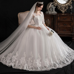 Gryffon Wedding Dress Elegant Half Sleeve O-neck Lace Up Ball Gown Princess Luxury Lace Embroidery Wedding Dresses Plu Size