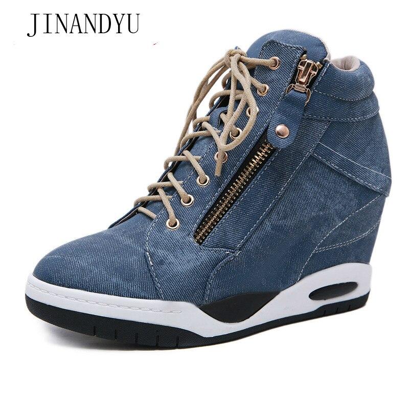 Canvas Sneaker Women Shoes Wedge Platform Sneakers New Women's Vulcanize Shoes Woman Sport High Sole Shoes Damen Sportschuhe