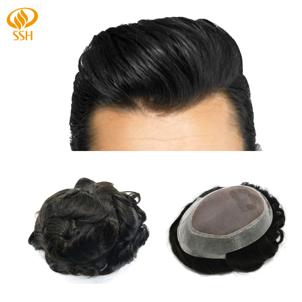 SSH Human Hair Man Wig Fine Mono Durable Mens Toupee Clear Skin PU Around Hand Tied Hairpieces Hair Replacements Shipping Free