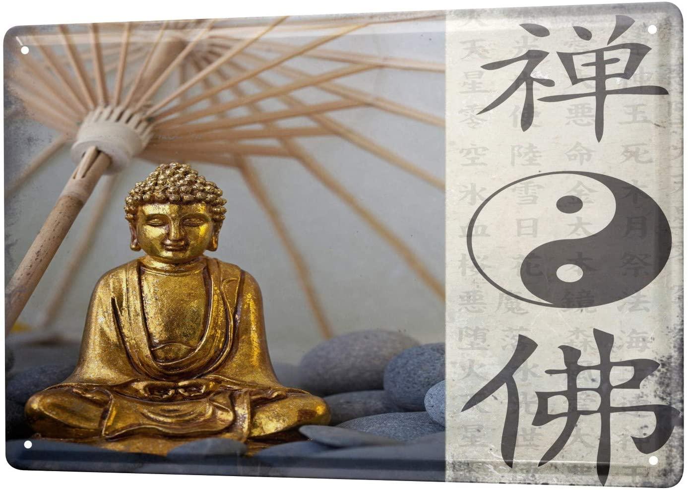 Desde 2004 estanho placa de metal sinal decorativo casa decoração placas nostálgico yin yang buda