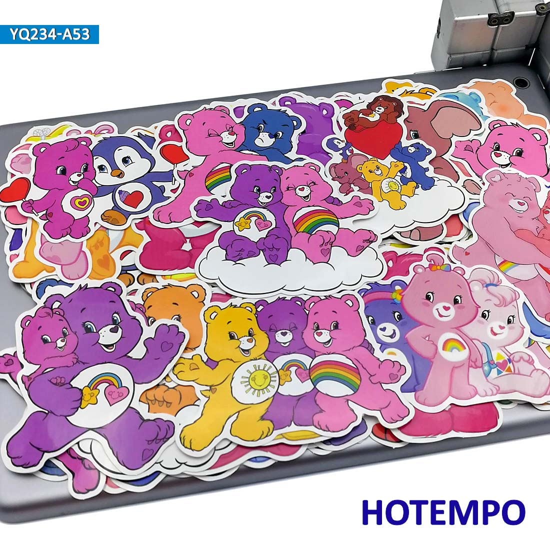 50pcs Cartoon Rainbow Bear Stickers For Kid DIY Mobile Phone Laptop Luggage Suitcase Guitar Skateboard Bike Case PVC Waterproof