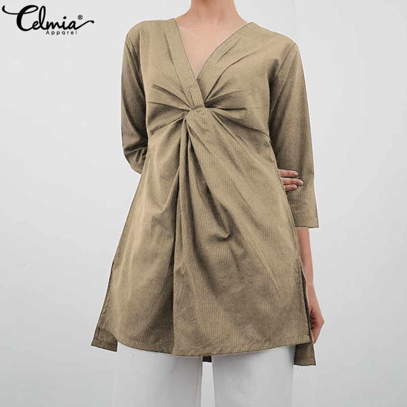Лето 2019, винтажная льняная блузка, Женская Длинная свободная рубашка, сексуальная туника с v-образным вырезом, топы, плюс размер, Blusas, женские блузки