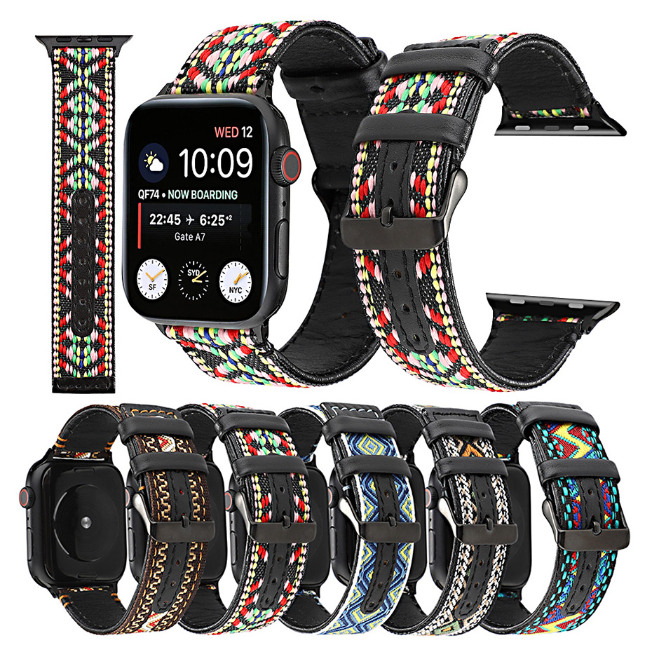 Nylon Leather watchband For <font><b>apple</b></font> <font><b>watch</b></font> band 38mm 44mm <font><b>42mm</b></font> strap 40mm iwatch sreies 5 4 3 <font><b>2</b></font> 1 <font><b>pulseira</b></font> bracelet belt Wristband image