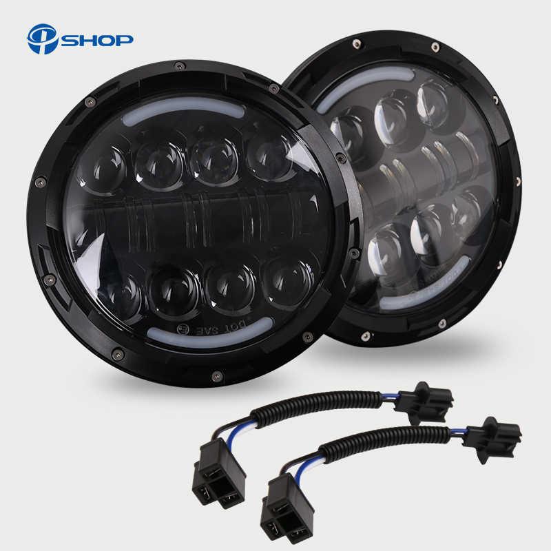 1 زوج 7 بوصة 80 واط مصابيح LED مستديرة المصابيح الأمامية عدة مع الملاك العين DRL/العنبر بدوره أضواء الإشارة ل Lada 4x4 الحضرية نيفا هامر H1 H2