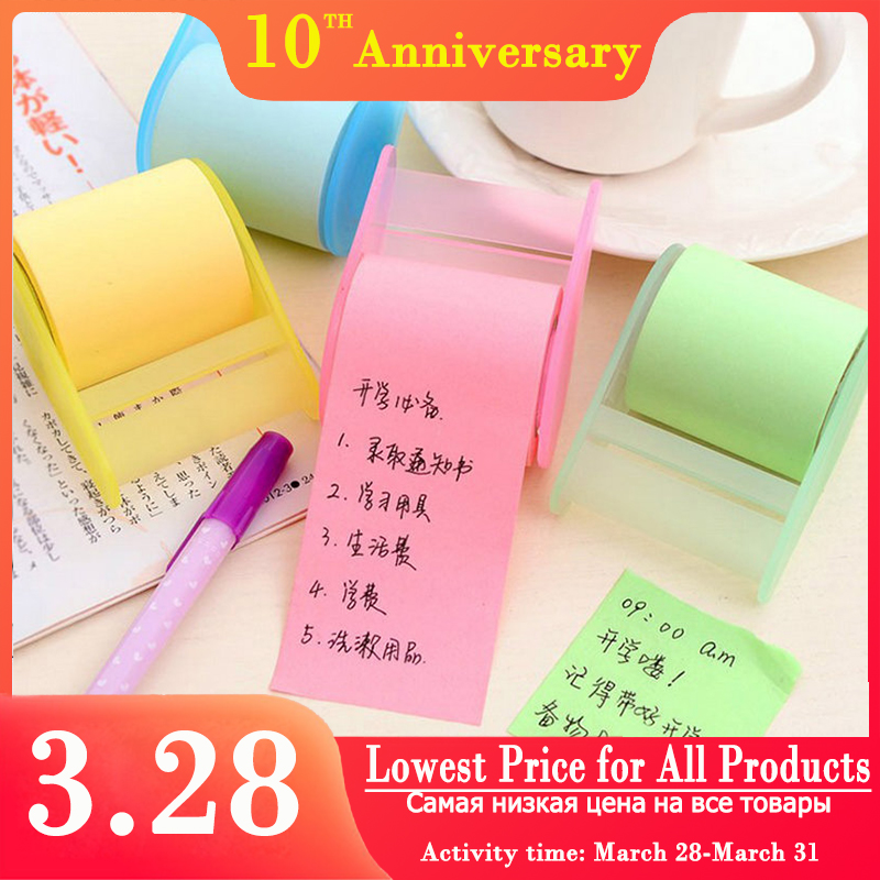 NEW Creative Simple Adhesive Tape Memo Pad Sticky Notes Memo Notebook Stationery Post Note Paper Stickers Office School Supplies