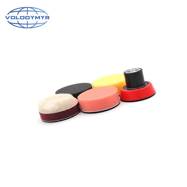Kit de pulido de taladro, almohadillas de pulido de 2 pulgadas, 4 Uds. Incluyen bandeja roja M14, esponja para encerar detalles, pulidor de coche