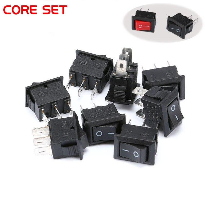 10Pcs 10*15MM Small Black Rocker Switch KCD1-11 250VAC//3A 6A 125V AC 2P TEUSV/_QI
