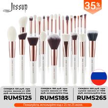 Jessup-zestaw pędzli do makijażu pędzle do profesjonalnego makijażu z naturalnego włosia zestaw 6–25 szt perłowobiałe różowe złoto do nakładania podkładu pudru i różu tanie tanio COMBO CN (pochodzenie) Włosy syntetyczne Włosy kozie 6PCS-25PCS T215 T216 T217 T218 T219 T220 T221 T222 T223 T224 T225