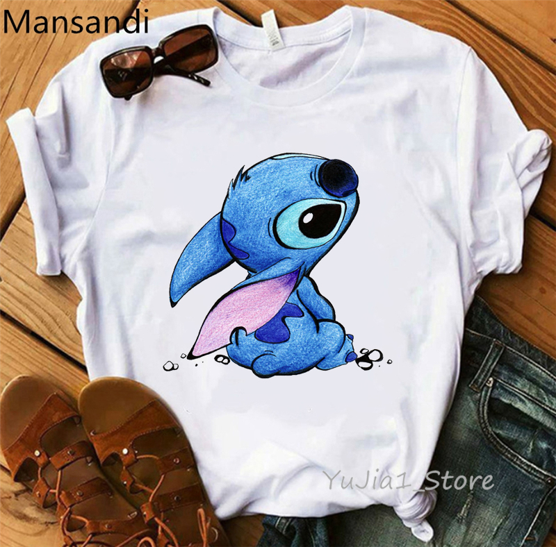 LILO STITCH Cartoon Print T-shirt Women Harajuku Kawaii Clothes Slim Casual Tops Tee Shirt Femme Funny T Shirt Camisetas Mujer