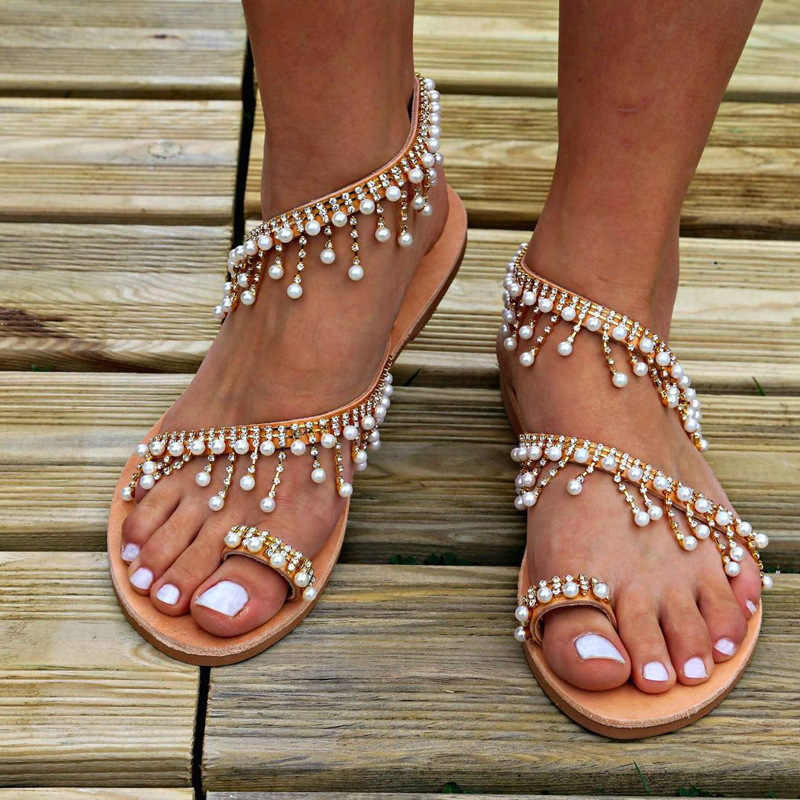Mùa Hè 2020 Mới La Mã Ngọc Trai Giày Sandal Nữ Thời Trang Handmade Đính Hạt Đế Bằng Nữ Size Lớn Tại Chỗ