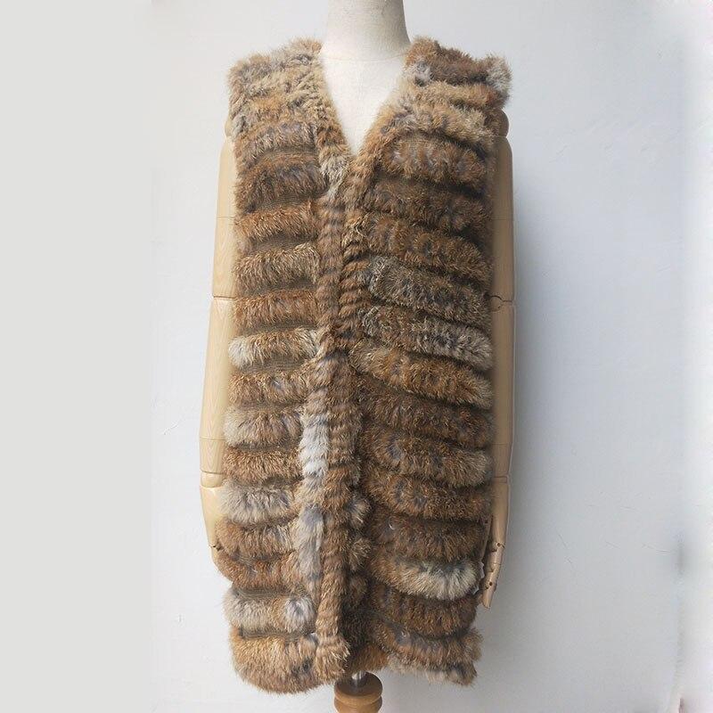 2019 Autumn Female Knitted Real Rabbit Fur Vest Fashion Women V-Neck Genuine Fur Gliet Sleeveless Ladies Outwear Casual