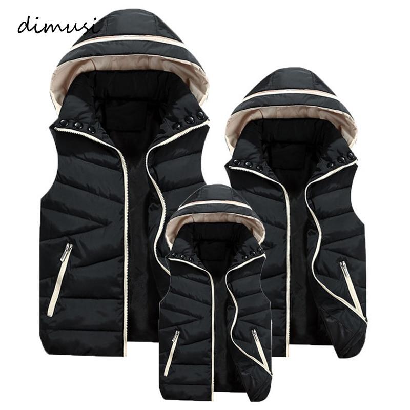 DIMUSI Mens Jacket Sleeveless Vest Winter Male Cotton-Padded Hooded Vest Coats Men Thick Warm Windbreaker Waistcoats Clothing