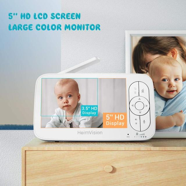 HeimVision HMA36MQ 5.0 Inch Baby Monitor with Camera Wireless Video Nanny 720P HD Security Night Vision Temperature Sleep Camera 2