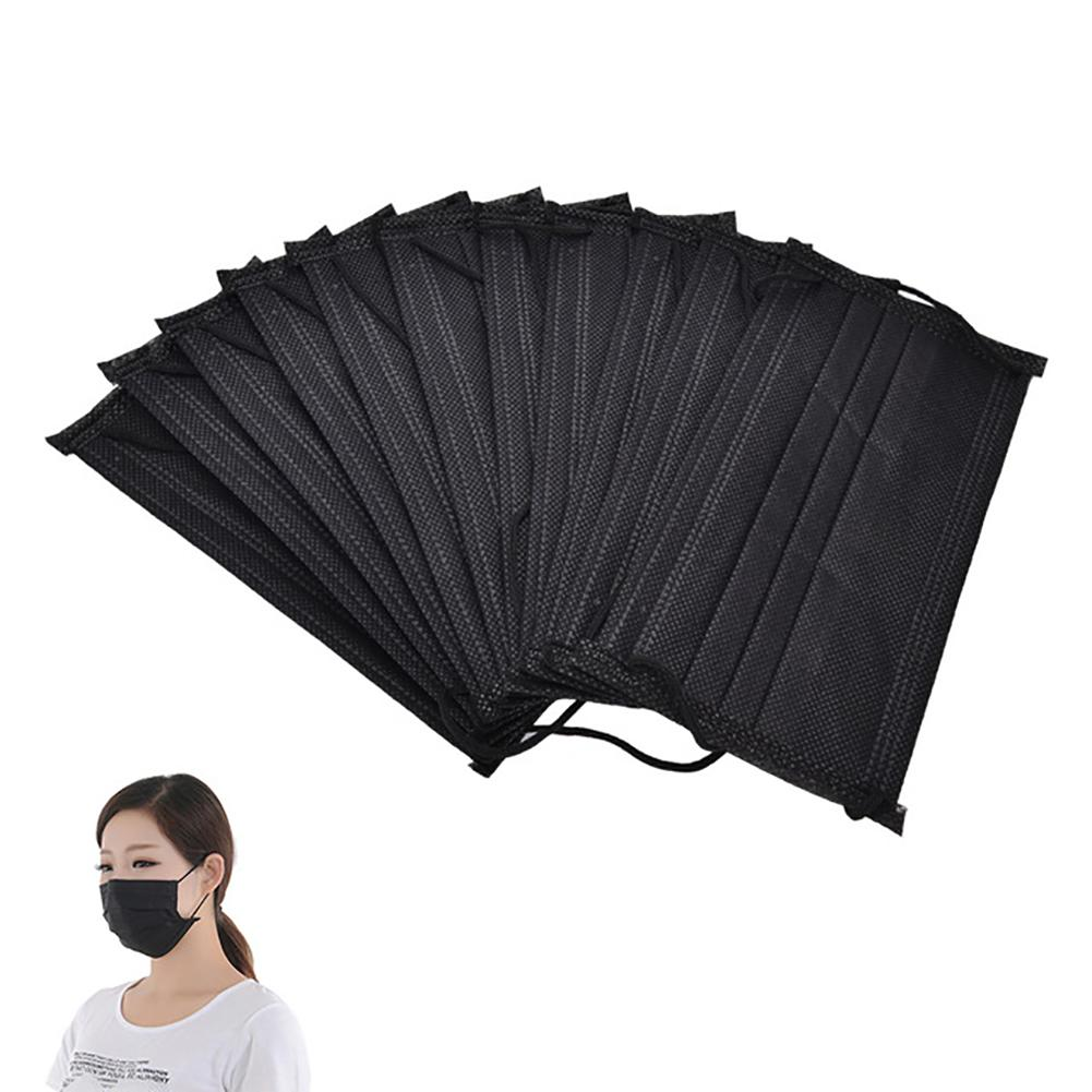 10Pcs Mouth Mask Disposable Black Cotton Mouth Face Masks Non-Woven Mask Anti-Dust Mask 3 Filter Activated Anti Pollution 2020