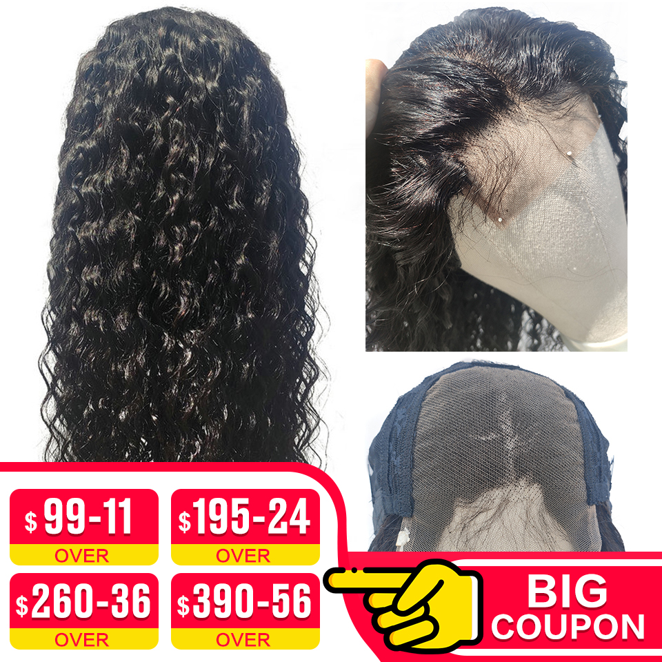 EMOL Brazilian Lace Closure Human Hair Wig 4*4 Lace Closure Wig Pre Plucked With Baby Hair 150% Density Water Wave Remy Hair Wig