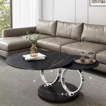 Italian Style Round Shape Gold Stainless Steel  Two-layer Coffee Side Table With White Marble Top 2