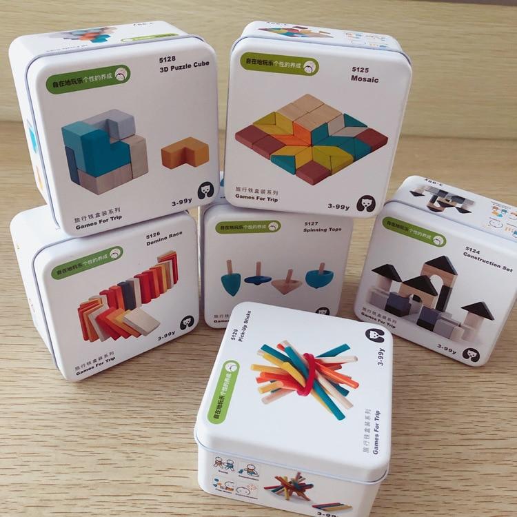 Crianças de madeira quebra-cabeça domino tangram brinquedos aprendizagem precoce educação inteligência crianças jogo interativo brinquedos com caixa varejo