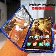 מתכת מגנטי מקרה עבור Huawei P20 P30 פרו Mate 10 20 פרו לייט מזג זכוכית חזרה מגנט מקרי כיסוי עבור כבוד 20 פרו 10i מקרה