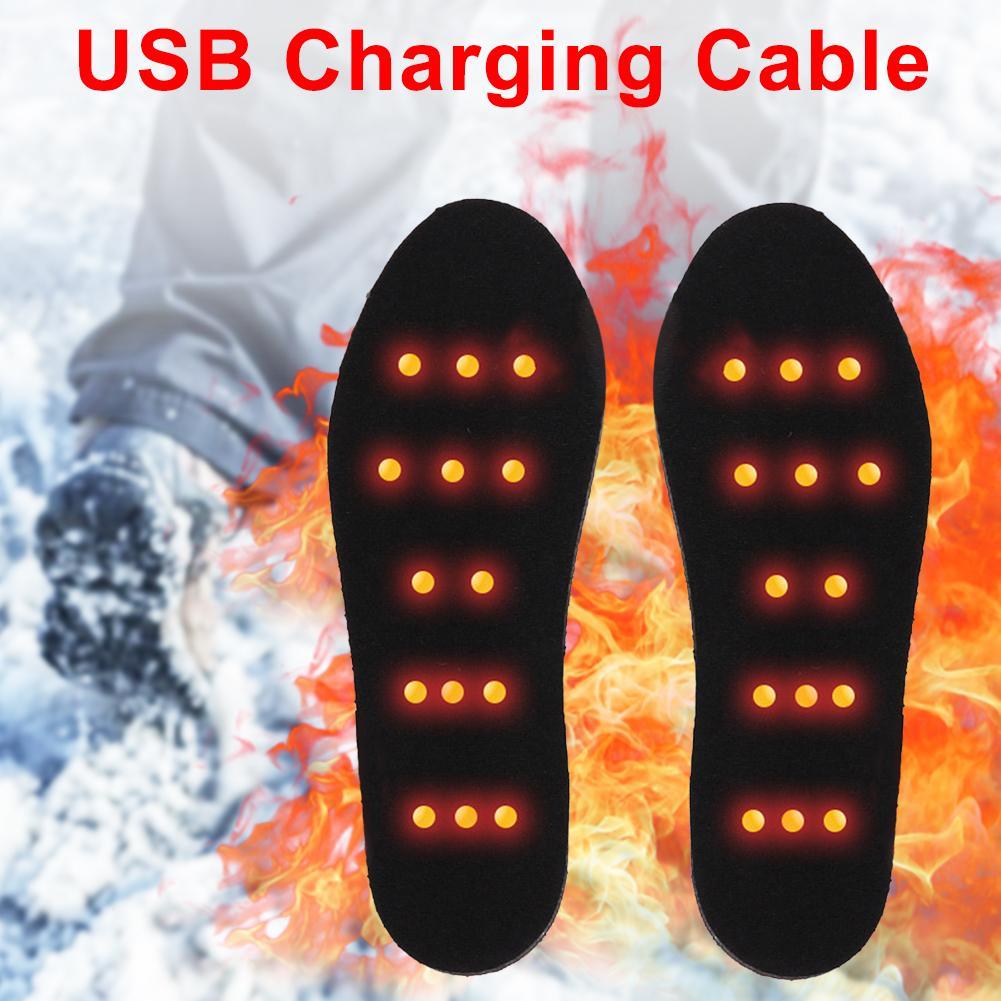 1 Pair USB Heated Shoe Insoles Foot Warming Pad Feet Warmer Sock Pad Mat Winter Outdoor Sports Heating Insoles Winter Warm