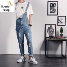 Fashion Mens Slim Fit Long Denim Overalls Suspender Hole Ripped Jeans Hip Hop Casual Rompers Pencil Pants Man Jumpsuit Big Size(China)