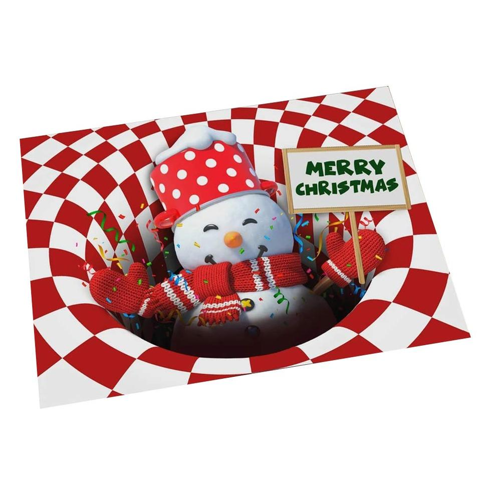 Christmas Grinch Red 3D Illusion Doormat Merry Christmas Grinch Doormat