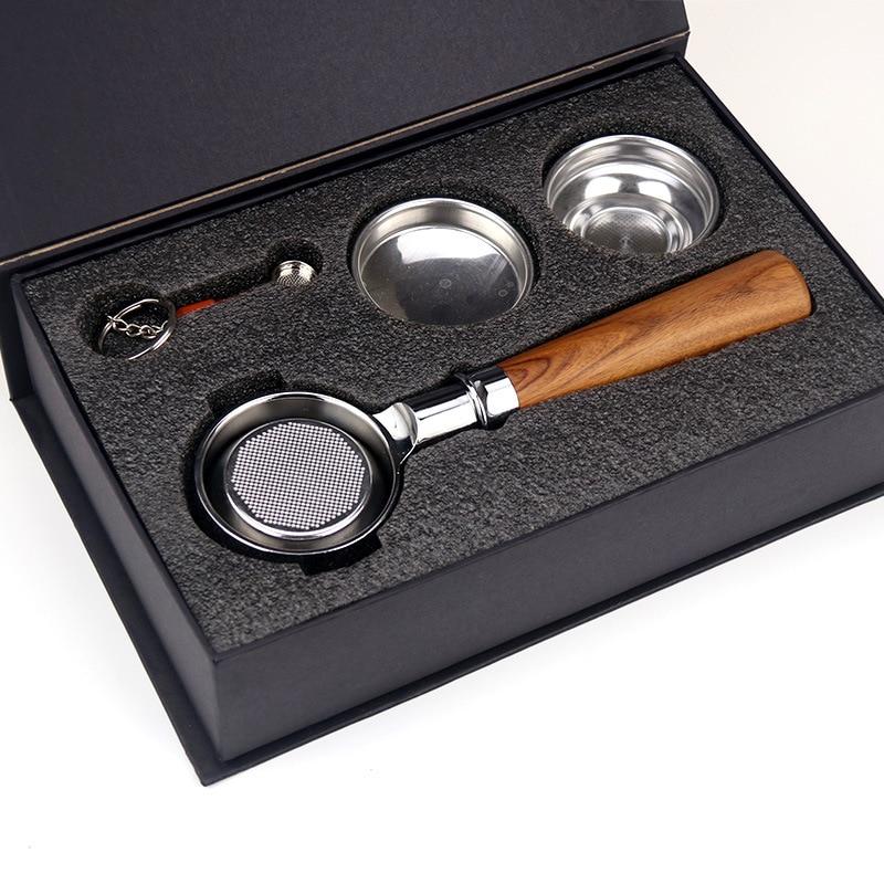58 мм нержавеющая сталь с двойными ушками кофе машина ручка бездонный фильтр Portafilter Универсальный деревянный E61 эспрессо кофе инструменты