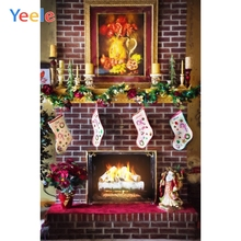 Yeele Christmas Party Photocall Fireplace Socks Photography Backdrops Personalized Photographic Backgrounds For Photo Studio