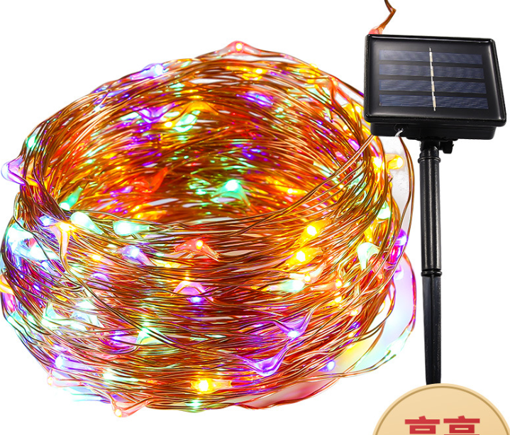 8 Patterns Of Solar LED String Lights 5M 10M 20M Christmas Copper Wire Starry Sky Fairy Lights Waterproof Outdoor Decorative Lig