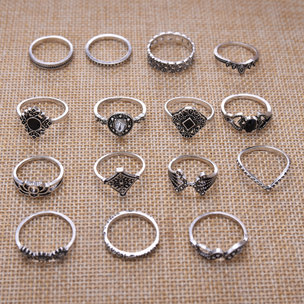 LATS New 15 Pcs/set Bohemian Retro Crystal Flower Leaves Hollow Lotus Gem Silver Women Ring Set 2020 Female Bohemian Jewelry 4