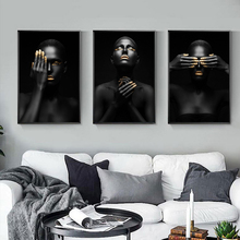 ZYGALLOP Black Gold Woman Portrait Canvas Painting Picture Posters And Prints Scandinavian Wall Art Living Room Home Decoration