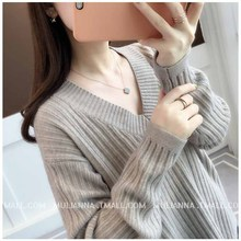 Women Sweater 2019 Autumn New Fashion Loose V-neck Long Sleeve Tassel Casual Soft  Wild