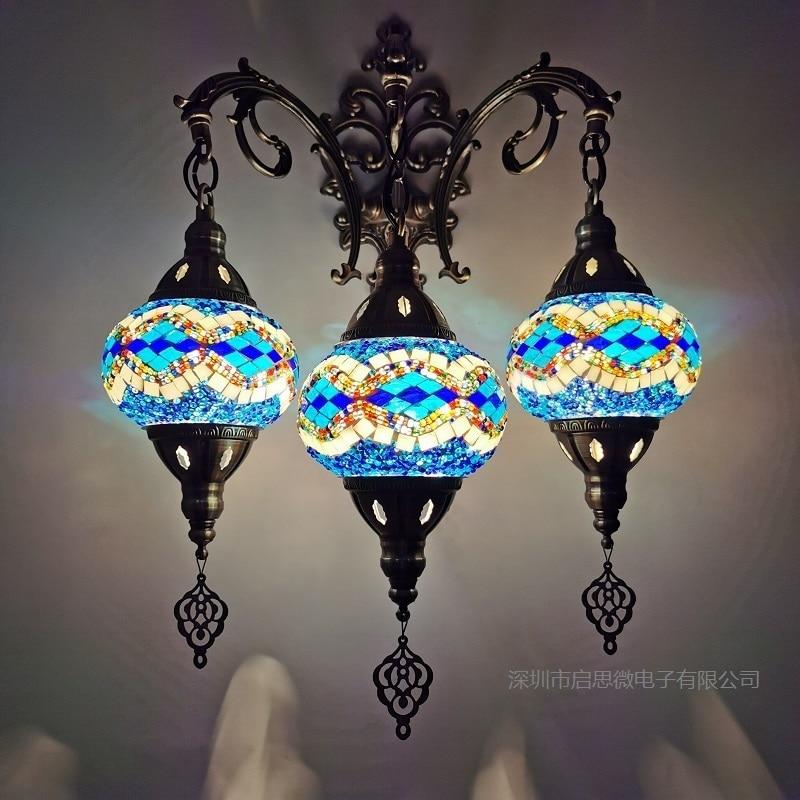 3 Heads New Mediterranean Style Art Deco Turkish Mosaic Wall Lamp Handcrafted Mosaic Glass Romantic Wall Light