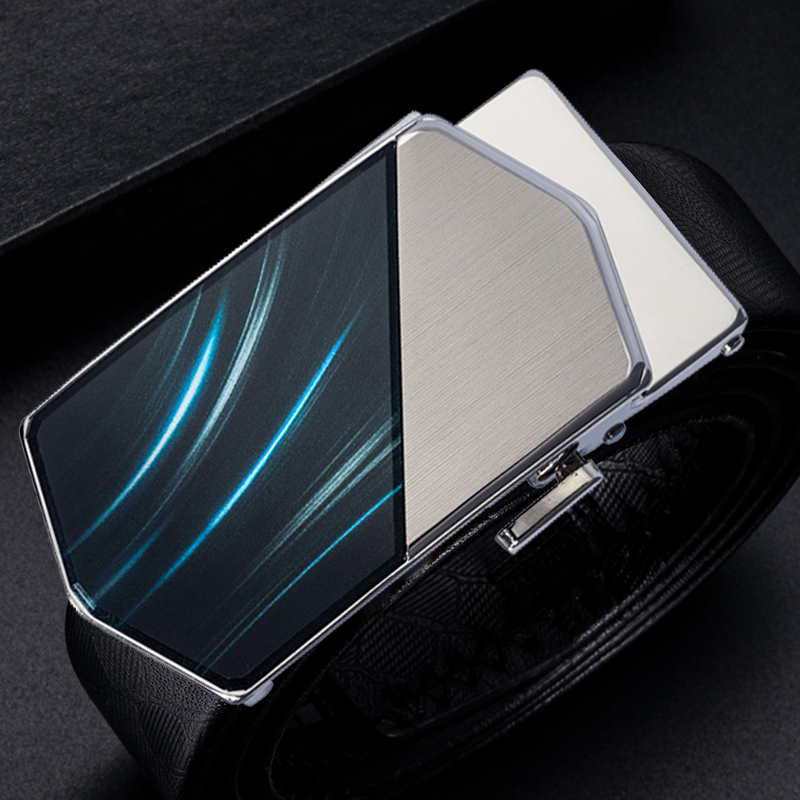 Hi-Tie Famous Brand Automatic Belt Buckles For Men Fashion Blue Gold Luxury Business Cowboy Leather Belt Buckles Designer