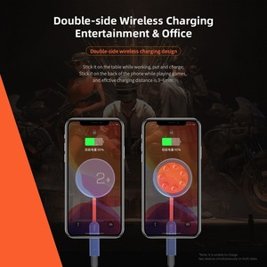 Image 2 - ROCK Double side Wireless Charger Suction Cup Fast Wireless Charging Pad Indicator Light 15W Qi Charger for iPhone XS 8 Huawei