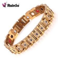Элегантный браслеты со стразами и браслеты для Для женщин золото Магнитный Мода Здоровье браслет леди ювелирные изделия OSB 1539GFIR