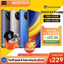 Em estoque versão global poco x3 pro 6gb 128gb/8g 256gb nfc smartphone snapdragon 860 33w quad ai câmera 120hz dotdisplay 5160mah