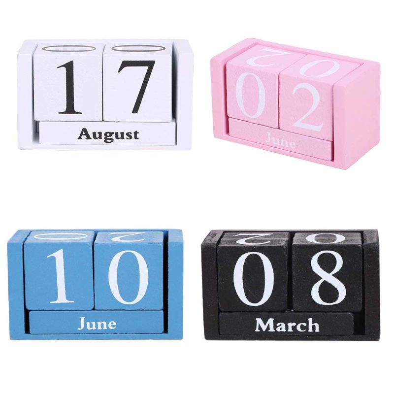 Large Vintage Wooden Perpetual Calendar Eternal Block Month Date Display Desk Accessory Photography Props Home Office Decoration