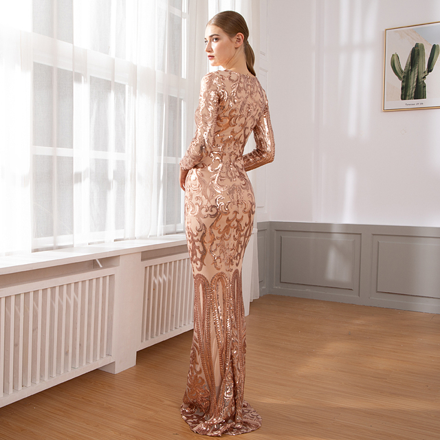 Elegant Full Sleeved O Neck Gold Sequined Party Dress Stretch Floor Length Bodycon Black Maxi Dress 1