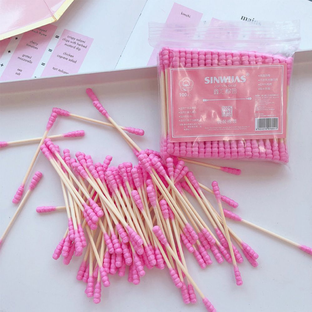 100 Pcs Double Head Disposable Cotton Swab Women Makeup Cotton Buds Tip For Medical Wood Sticks Nose Ears Cleaning Tools