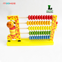 Multifunctional Large Wooden Giraffe Abacus Beads Around Arithmetic Rack Cognitive Beaded Children's Educational Toys