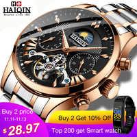 HAIQIN luxus Automatische Mechanische Männer Uhr klassische Business Watch männer Tourbillon Wasserdichte Männliche Armbanduhr Relogio Masculino