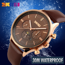 SKMEI Fashion Business Quartz Watches Men Wristwatches 30M Waterproof Casual Leather Brand Casual Watch Relogio Masculino 9117 стоимость