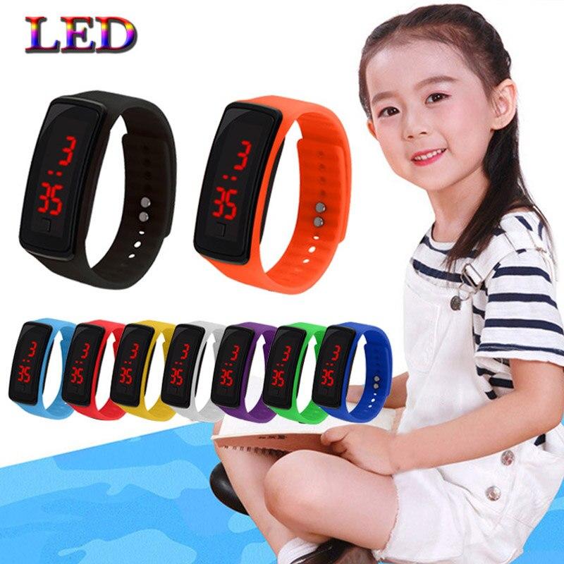 5 шт. дети часы из светодиодов спортивные дети часы мужчины и женщины искусственная электронные цифровые часы браслет Смотреть мальчики девочки