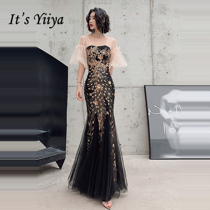 It's Yiiya Evening Dresses Plus Size Gold Sequins Evening Dress Elegant Puff Sleeve Party Gowns Mermaid Robe De Soiree LF100