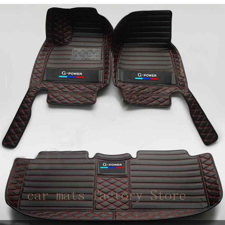 Dua Warna Lantai Mobil Tikar untuk BMW G30 F10 F11 F15 F16 F20 F25 F30 F34 E60 E70 E90 1 3 4 5 7 Seri GT X1 X3 X4 X5 X6 Mobil Tikar