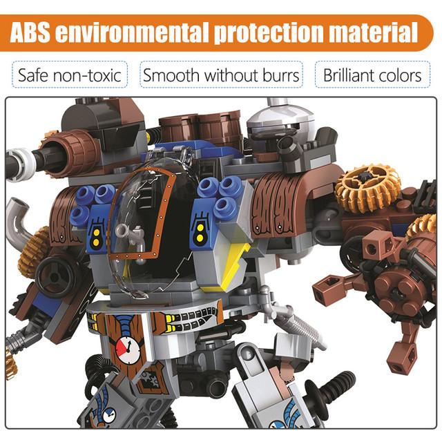 371pcs City Age Of Steam Series Mechanical Robots Building Blocks Military Warrior Figures Bricks Education Toys for Boy