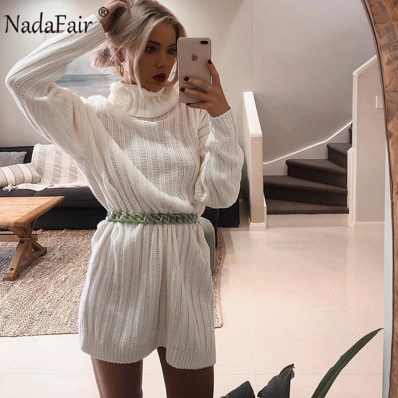 Image 3 - Nadafair Long Sleeve Turtleneck Sweater Dress Women 2019 Solid Mini Casual Loose White Autumn Knitted Winter Dress Jumper-in Dresses from Women's Clothing