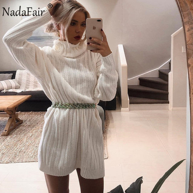 Nadafair White Sweater Dresses 2020 Christmas Solid Long Sleeve Mini Casual Loose Turtleneck Knitted Winter Dress Women Vestidos