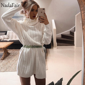 Image 3 - Nadafair White Sweater Dresses 2020 Christmas Solid Long Sleeve Mini Casual Loose Turtleneck Knitted Winter Dress Women Vestidos